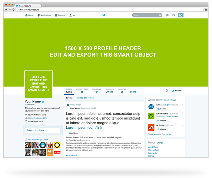 Twitter Profile PSD Mockup