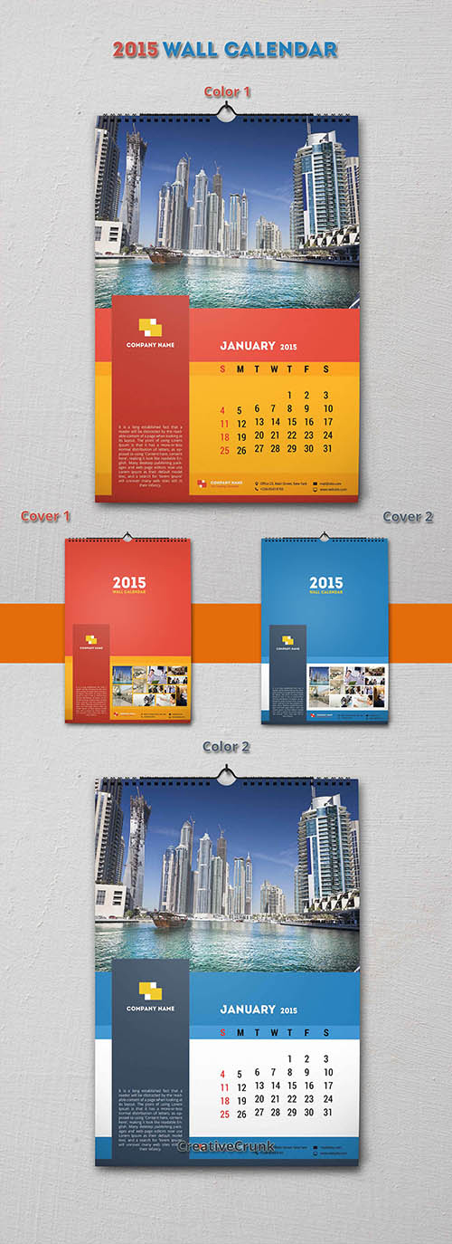 2015 Wall Calendar – Print Ready PSD Sources