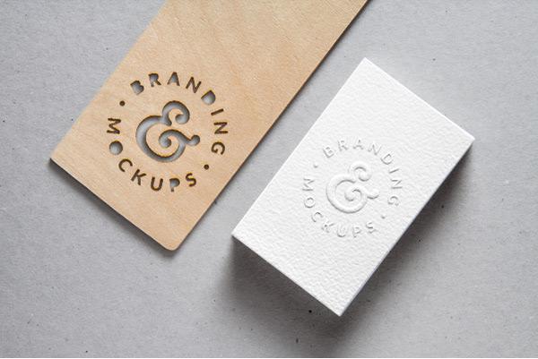 Cutout Wood & Embossed Business Card MockUp
