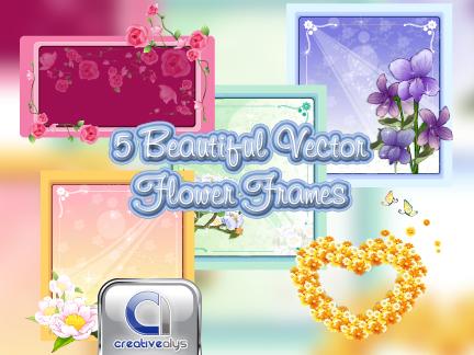 Beautiful flower frame in vector