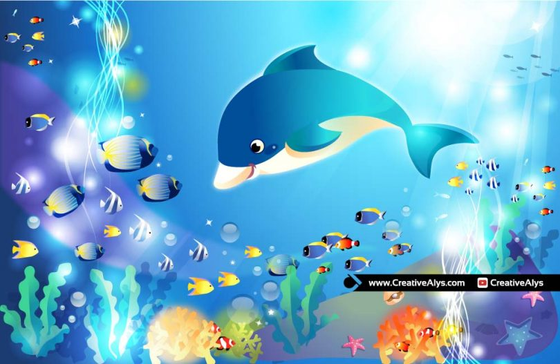 Cute-Dolphin-Underwater-Vector-Illustration