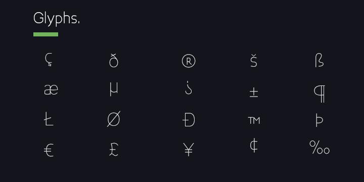 Bakersfield font glyphs