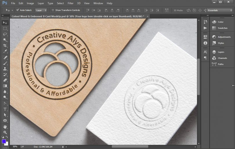 Cutout wood embossed business card mockup creative alys for Cutout business cards