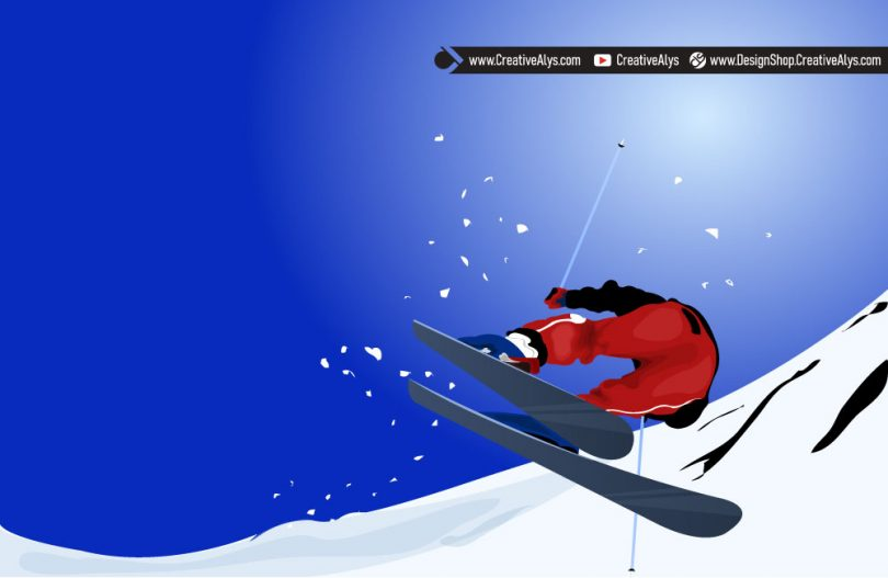 Skiing-Vector-Illustration