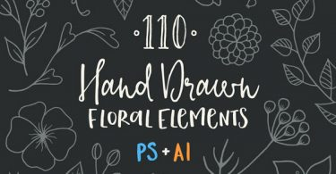 110-Hand-Drawn-Floral-Elements-featured