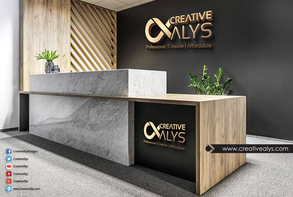 Reception 3D Logo PSD Mockup | Creative Alys