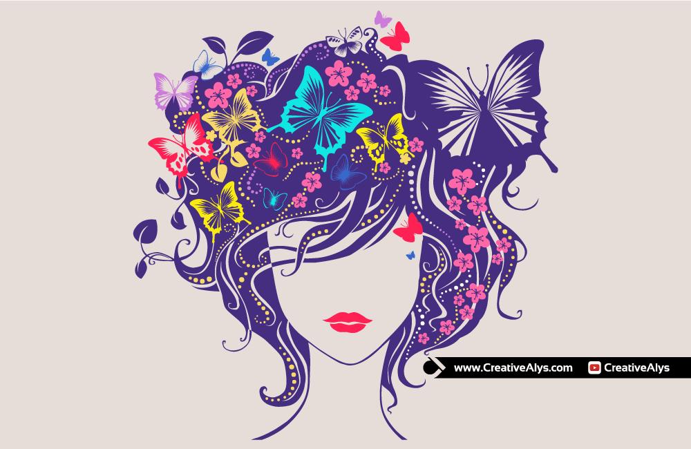 Beautiful Woman Head Floral Vector Artwork Creative Alys