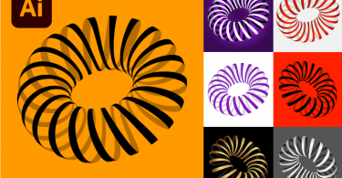 Optical-Illusion-3D-Striped-Shapes