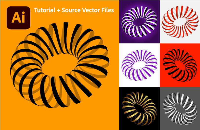 Optical-Illusion-3D-Striped-Shapes